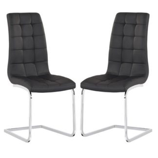 An Image of Torres Dining Chair In Black Faux Leather in A Pair