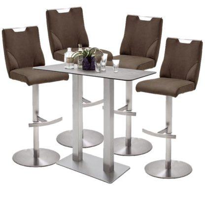 An Image of Soho Glass Bar Table With 4 Jiulia Brown Stools