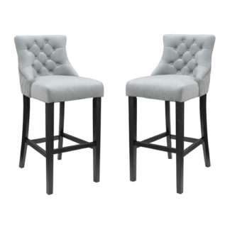 An Image of Victoria Grey Velvet Bar Stool In Pair