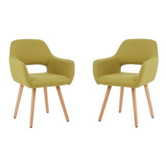 An Image of Porrima Green Dining Chair With Wooden Legs In Pair