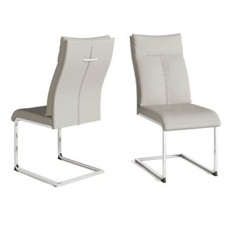 An Image of Chapin Faux Leather Dining Chair In Cream And Chrome Leg In Pair
