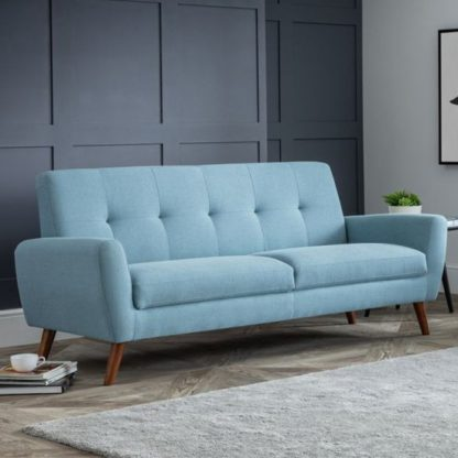 An Image of Monza Linen Compact Retro 3 Seater Sofa In Blue
