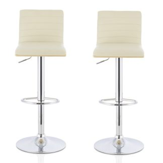 An Image of Morsun Bar Stools In Oak And Cream PU In A Pair