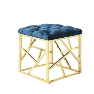 An Image of Allen Stool In Blue Velvet And Gold Plated Stainless Steel Base