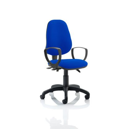 An Image of Redmon Fabric Office Chair In Blue With Loop Arms
