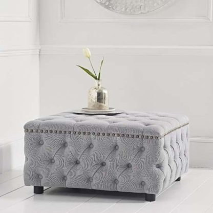 An Image of Aniara Linen Square Footstool In Grey
