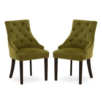 An Image of Vanille Velvet Dining Chair In Moss With Wenge Legs In A Pair