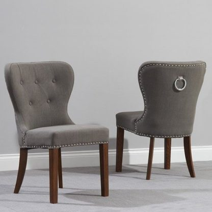 An Image of Chason Dark Wood Grey Dining Chair In Pair