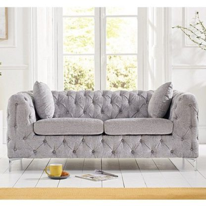 An Image of Sabine Velvet Two Seater Plush Sofa In Grey With Metal Legs