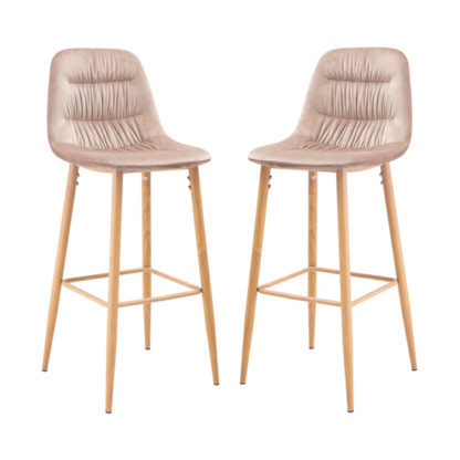 An Image of Harper Beige Finish Bar Stool In Pair