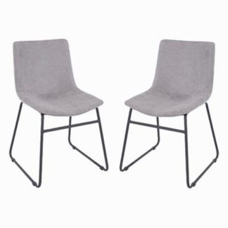 An Image of Arturo Grey Fabric Dining Chair In Pair With Black Metal Legs