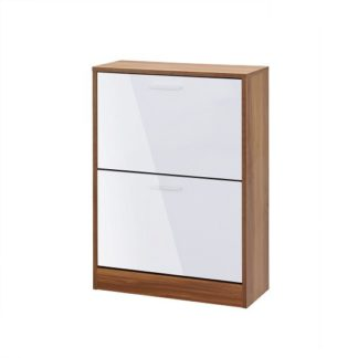 An Image of Frances Shoe Cabinet In Walnut And Gloss White With 2 Doors