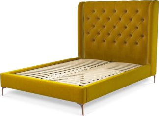 An Image of Custom MADE Romare Double size Bed, Saffron Yellow Velvet with Copper Legs