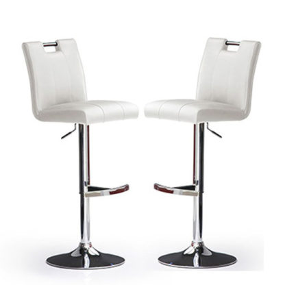 An Image of Casta Bar Stools In White Faux Leather in A Pair