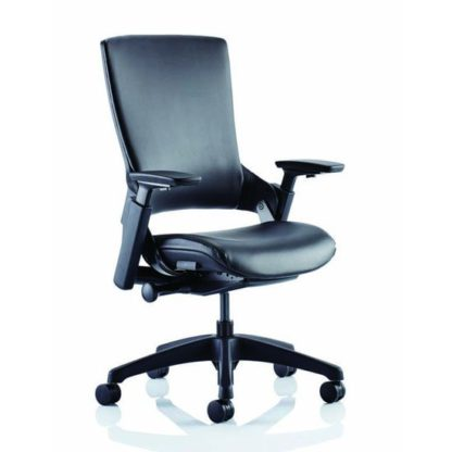 An Image of Molet Black Back Leather Office Chair In Black
