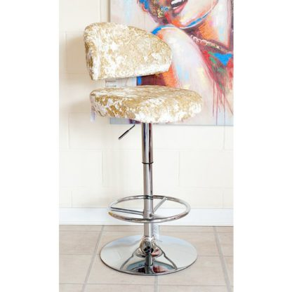 An Image of Crushed Velvet Bar Stool In Chalk With Chrome Base