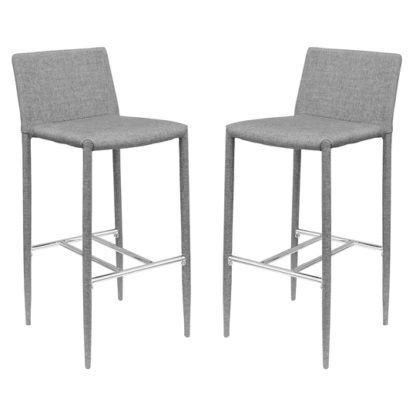 An Image of Selina Grey Fabric Bar Stool In Pair