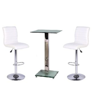 An Image of Spice Bar Table In Clear Glass With 2 White Ripple Bar Stools