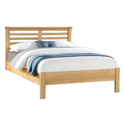 An Image of Tertia Wooden Double Bed In Oak