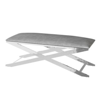 An Image of Vertue Velvet Fabric Upholstered Dining Bench In Silver Grey
