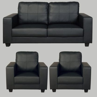 An Image of Okul Faux Leather 3 Seater Sofa And 2 Armchairs Suite In Black