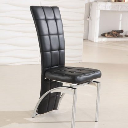 An Image of Ravenna Black Faux Leather Dining Room Chair
