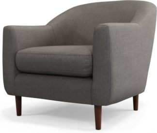 An Image of Custom MADE Tubby Armchair, Pewter Grey with Dark Wood Legs