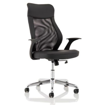 An Image of Baye Leather Operator Office Chair In Black