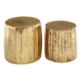An Image of Evolution Set Of 2 Stools Round In Antique Brass Finish