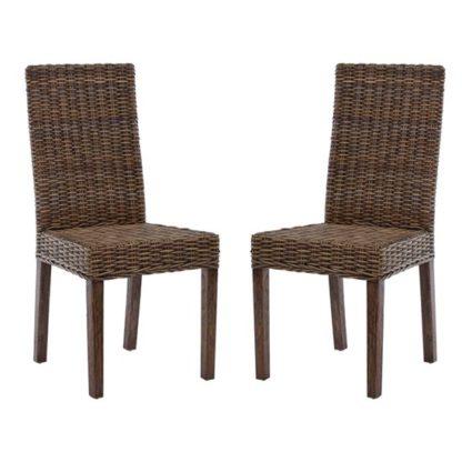 An Image of Helvetios Brown Kubu Rattan Dining Chairs In Pair