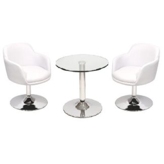 An Image of Belize Bistro Table In Clear Glass And 2 White Bucketeer Chairs