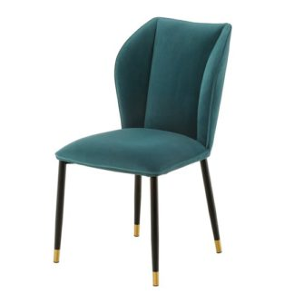 An Image of Alice Velour Fabric Dining Chair In Jade Green With Black Legs