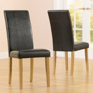 An Image of Cepheus Black Faux Leather And Solid Oak Dining Chairs In Pair