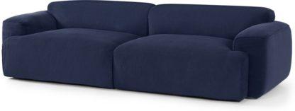 An Image of Avalon 3 Seater Sofa, Navy Corduroy Velvet