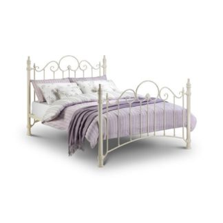 An Image of Floren Metal King Size Bed In Stone White Finish