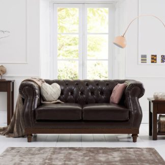 An Image of Ruskin 2 Seater Sofa In Brown Leather With Dark Ash Legs
