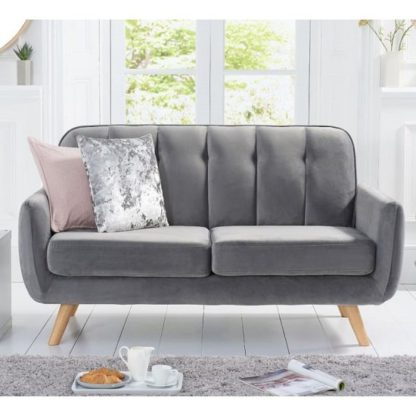 An Image of Rickey Velvet Two Seater Sofa In Grey With Solid Wood Legs