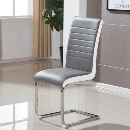 An Image of Symphony Dining Chair In Grey And White PU With Chrome Base