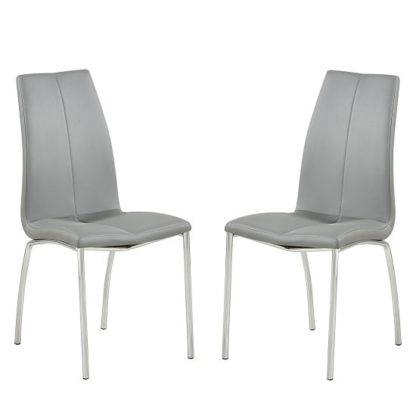 An Image of Opal Dining Chair In Grey Faux Leather In A Pair