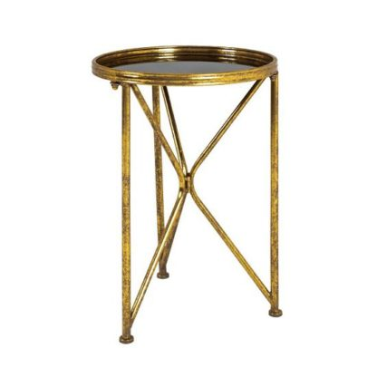 An Image of Neve Glass End Table Tall In Black With Antique Gold Frame