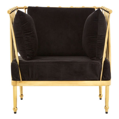 An Image of Kurhah Bedroom Chair In Black With Gold Finish Tapered Arms