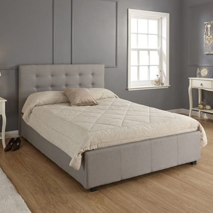 An Image of Lucca Fabric Ottoman Storage Double Size Bed In Grey