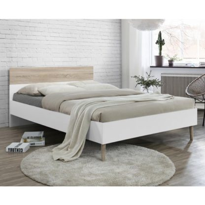An Image of Mapleton Wooden Double Bed Oak And White