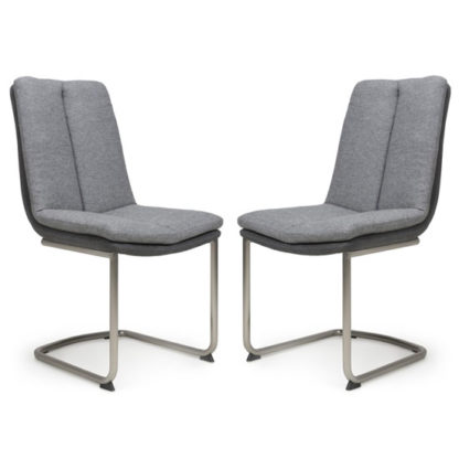 An Image of Triton Light Grey Linen Effect Dining Chair In A Pair