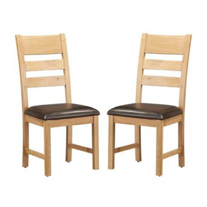 An Image of Heaton Ladder Back Rustic Light Oak Dining Chair In Pair