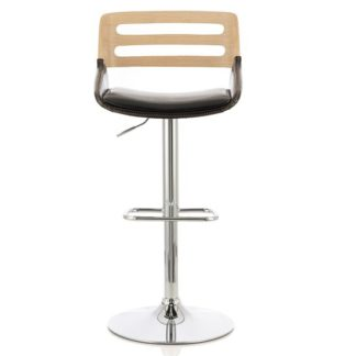 An Image of Emeline Bar Stool In Oak And Black PU With Chrome Base