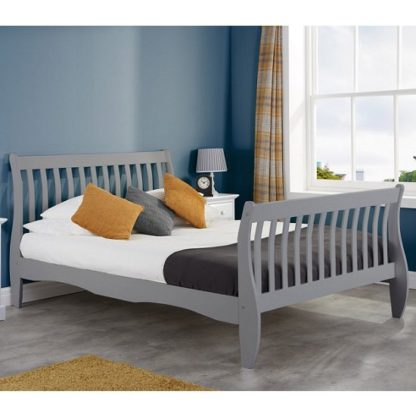 An Image of Emberly Wooden Small Double Bed In Grey