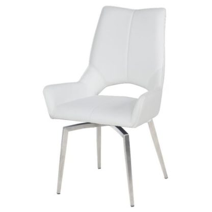 An Image of Halle Swivel Dining Chair In White Faux Leather