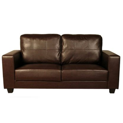 An Image of Queensland 3 Seater Sofa In Brown Faux Leather