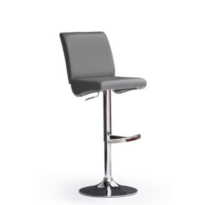 An Image of Diaz Grey Bar Stool In Faux Leather With Round Chrome Base